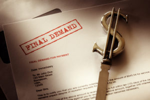 Final demand notice concept for debt, past due and overdue payme